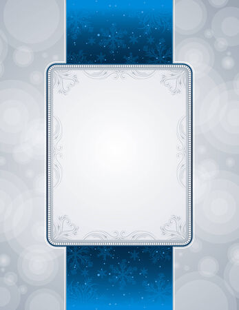 silver picture frame: silver christmas background, vector illustration