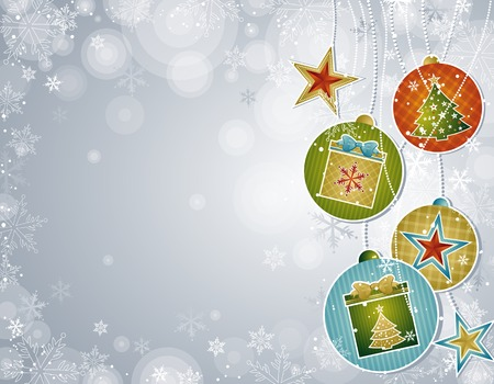 silver christmas background, vector illustration