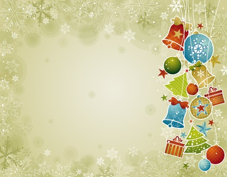 tree trimming: beige christmas background with christmas ball,illustration Illustration