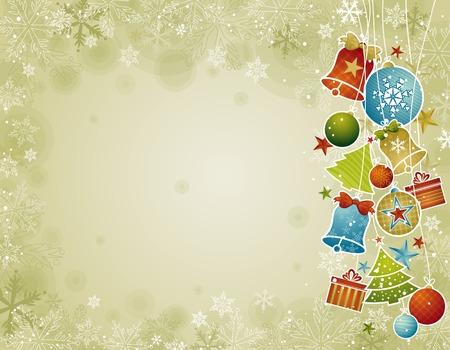campanas navidad: christmas background color beige con la bola de Navidad, la ilustraci�n