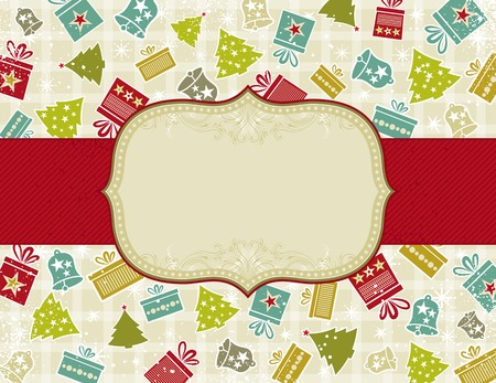 beige christmas background with christmas elements, illustration Vector