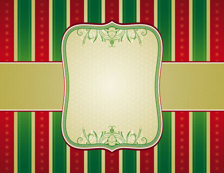 ornaments vector: striped christmas background with decorative ornaments,  vector illustration