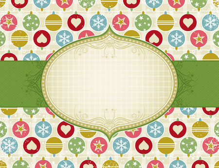 beige christmas background with christmas balls, vector illustration