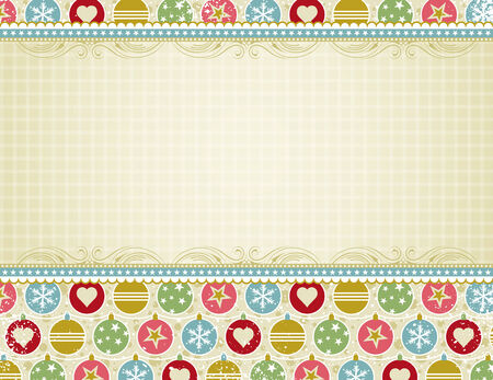 beige christmas background with christmas balls,  vector illustration Vector
