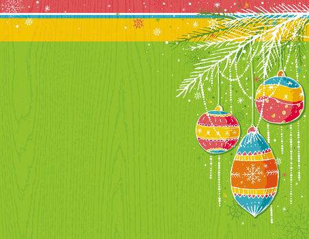 green christmas background with christmas balls,  vector illustration Stock Vector - 5779707