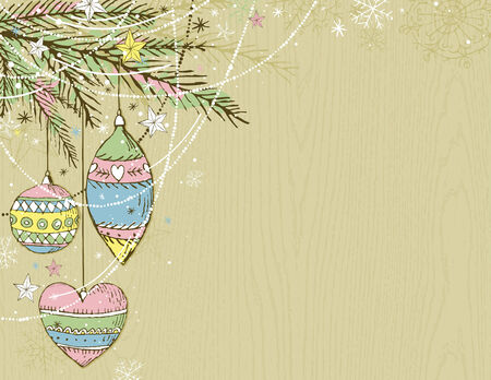 tree trimming: beige christmas background with christmas balls,  vector illustration