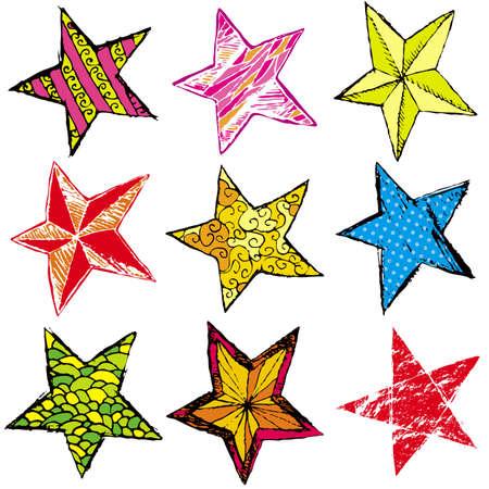 garabatos: nueve mano dibujar estrella de Navidad, ilustraci�n vectorial Vectores