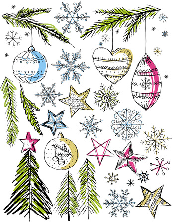 tree trimming: christmas decorative hand draw elemants,  vector illustration