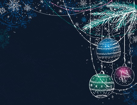 year curve: blue christmas background with christmas balls,  vector illustration