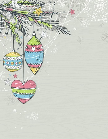 alder: grey christmas background with christmas balls, illustration