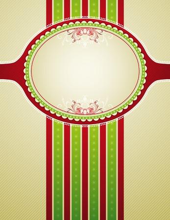 ornaments vector: sfondo Natale a righe con ornamenti decorativi, illustrazione vettoriale  Vettoriali