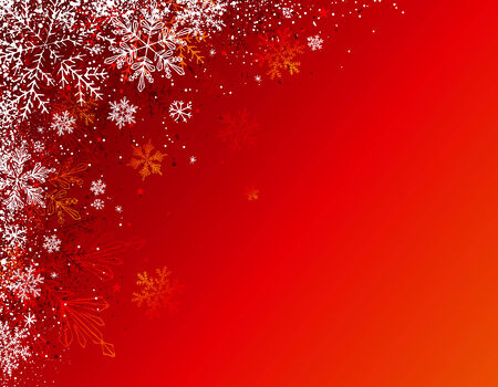 flakes: red christmas background with snowflakes, illustration Illustration