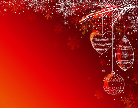red  background with christmas balls, illustration Stock Vector - 5873101