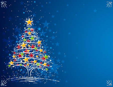 christmas tree  on the blue background, illustration Vector