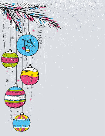 alder: grey christmas background with christmas balls,  vector illustration