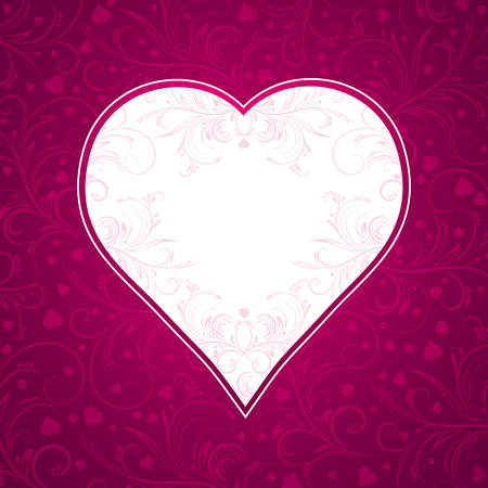 pink background with big heart, vector illustration Vector
