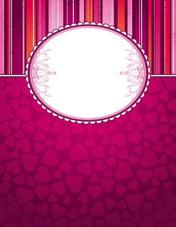 graphic design background: pink background with big label and hearts, vector illustration Illustration
