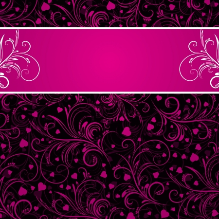 pink and black: black background with pink decorative ornaments and many  hearts, vector illustration