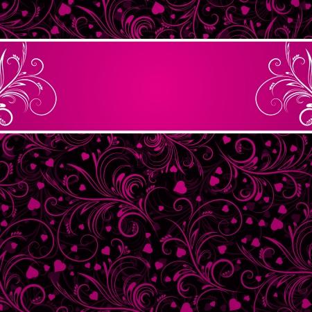 rosa negra: fondo negro con adornos decorativos rosas y muchos corazones, ilustraci�n vectorial Vectores