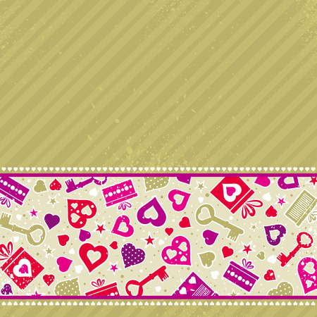 beige valentine background with pink hearts and gifts,  vector illustration Vector