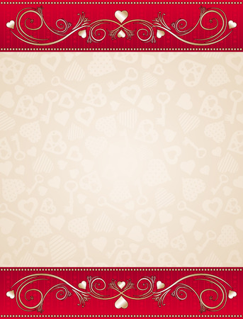 beige valentine background with red floral border,  vector illustration Vector
