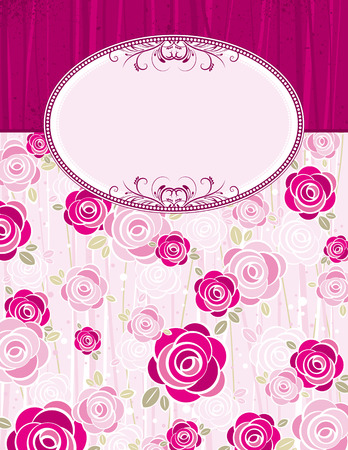 pink valentine background with roses,  vector illustration Vector