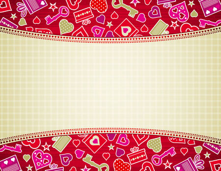 beige valentine background with hearts and gifts,illustration Vector