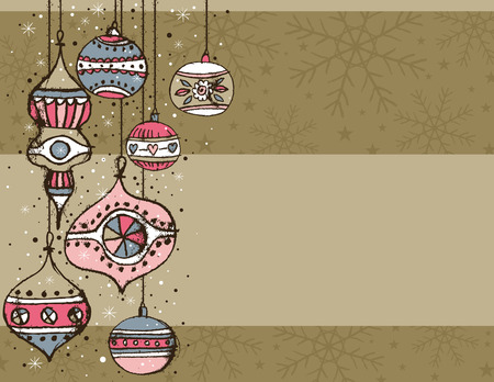 year curve: beige background with christmas balls,  illustration Illustration