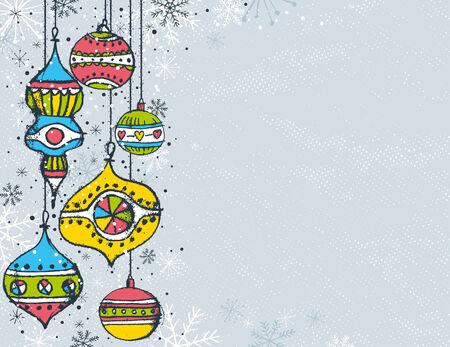 grey christmas background with christmas balls,   illustration Stock Vector - 7714121