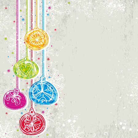 color christmas background with christmas balls,  illustration Vector