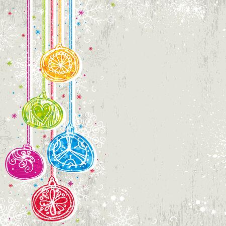 garabatos: color de fondo de Navidad con bolas de Navidad, ilustraci�n  Vectores