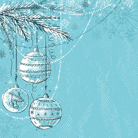 holiday picture: blue christmas background with christmas balls,   illustration Illustration