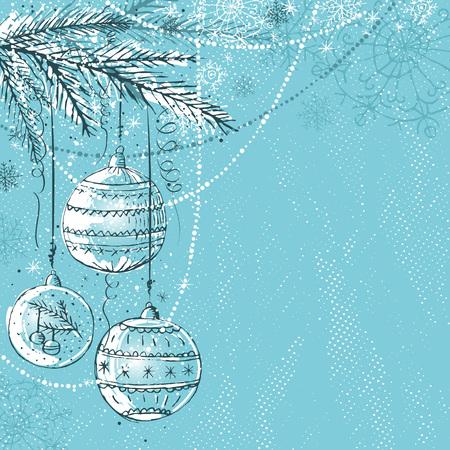blue christmas background with christmas balls, illustration