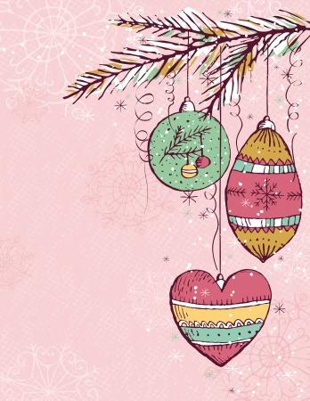 garabatos: Fondo de color rosado Navidad con bolas de Navidad, ilustraci�n