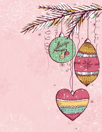 pink christmas background with christmas balls,  illustration Stock Vector - 7744201