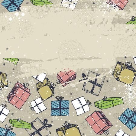 scrawl: colore di sfondo con i regali di Natale, illustrazione