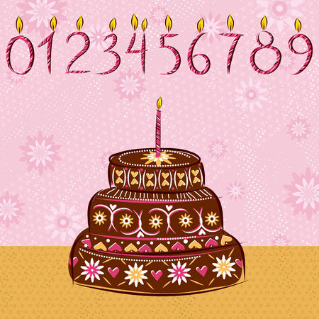 holiday cake for valentines day and birthday, vector Vector