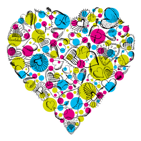 valentines background with hand drawn hearts, illustration Stock Vector - 7746205