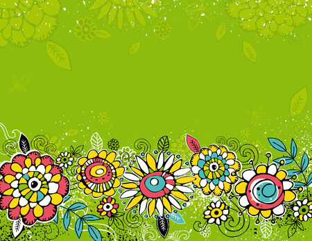 hand draw  flowers on green background Vector