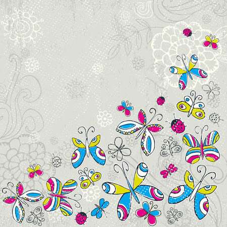 garabatos: mariposas de sorteo de mano sobre fondo gris de grunge