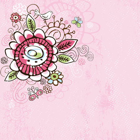 hand draw  flowers on  pink grunge background Vector