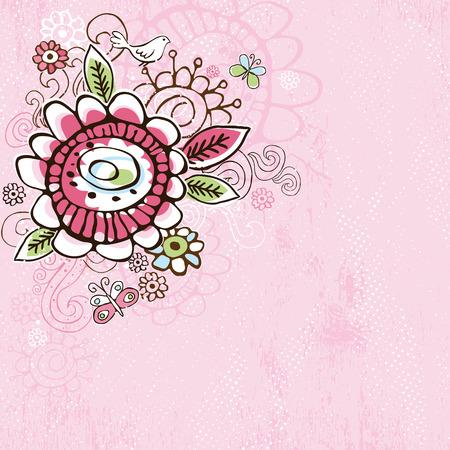 scrawl: mano disegnare fiori su sfondo rosa grunge Vettoriali