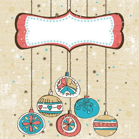 scrawl: colore di sfondo con le palle di Natale, illustrazione  Vettoriali