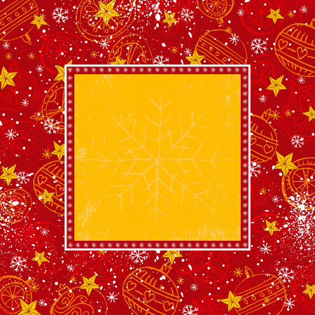 red christmas background with christmas balls and stars,    illustration Vector