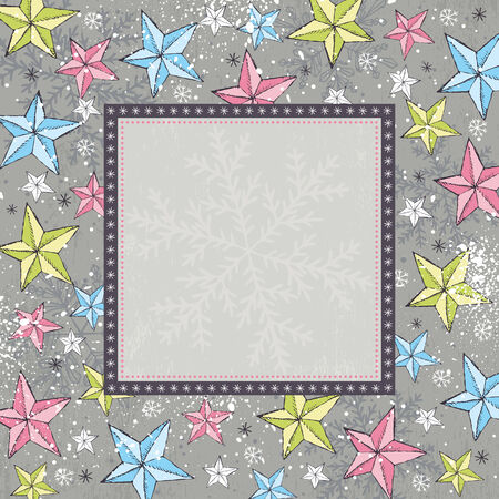 grey background with christmas  stars,   illustration Vector