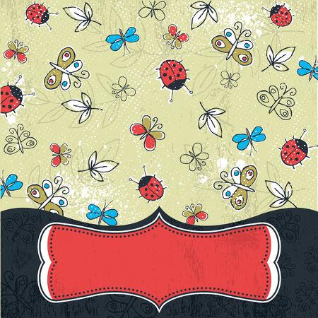 garabatos: Fondo de grunge con mariposas, ilustraci�n