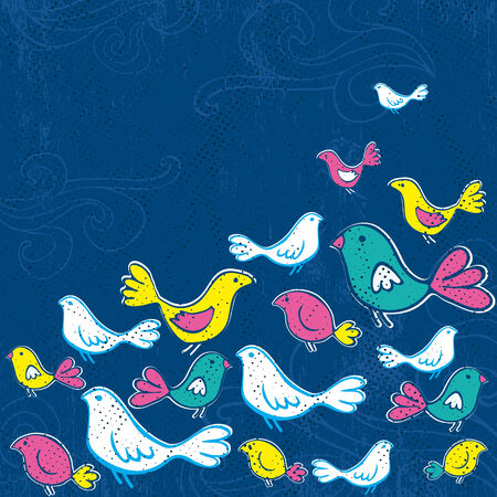 hand draw birds on grunge blue background Stock Vector - 7775080