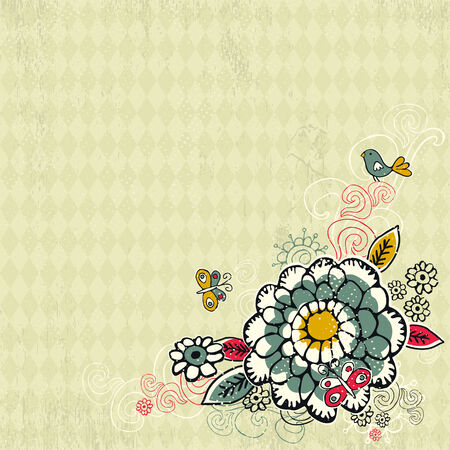 hand draw  flowers on grunge background Vector