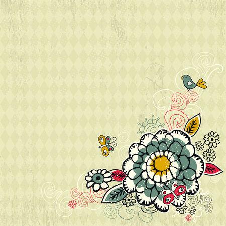 hand draw  flowers on grunge background
