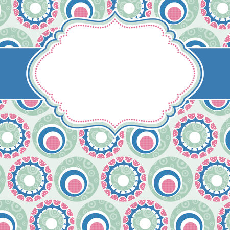 frame with background of circle  flowers Vector